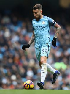 Nicolas Otamendi of Manchester City in action during the Premier League match between Manchester City and Chelsea at Etihad Stadium on December 3, 2016 in Manchester, England.