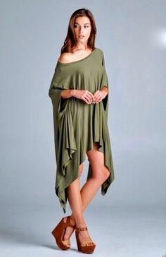 Poncho Tunic Dress Boho olive oversize hi lo swing drapy stretchy rayon NWOT O/S #Boutique #Tunic #Casual