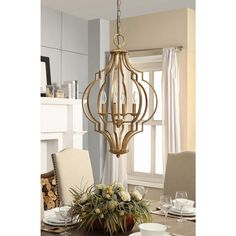Gold Leaf Trellis 4-light Chandelier - Overstock™ Shopping - Great Deals on Chandeliers & Pendants