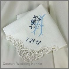 Exquisite Embroidered Wedding Handkerchief by Couture Wedding Hankie - www.etsy.com/shop/CoutureWeddingHankie Created in luxurious linen in ivory or white makes the perfect something blue for the bride or mother of the bride gift.