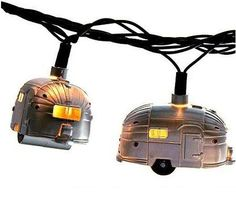 Awesome RV camping lights. These would be very cute strung over a rockguard on the front of a trailer, or on the buffet table.