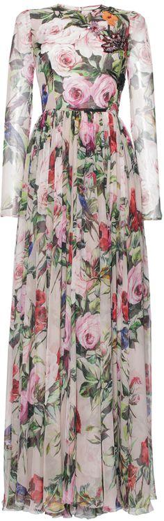 Dolce & Gabbana Silk Chiffon Embellished Floral Gown