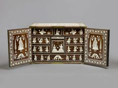 Cabinet with figurative Ivory Inlay. Rosewood inlaid with ivory, India, Gujarat or Deccan, for export to Europe ca. 1700