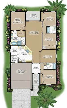 Alexandria floor plan - 1 story, 4 bedrooms and 3 bathrooms. With a large open floor plan and a great room, it's perfect for entertaining!
