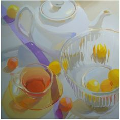 Karen O'Neil: glass, transparent, still life, morning, light, pastel, quiet, fresh, contemporary