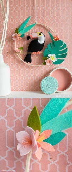 DIY wall decor tropical theme nursery toucan bird and flowers - DIY Home Decor - Pattern and tutorial at www.LiaGriffith.com