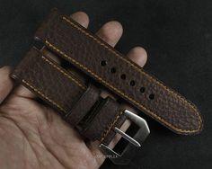 Dark Brown Pebble Grain with Custom Stitching Leather Watch