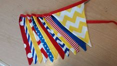 Fabric pennant banner, cake smash prop, photography accessory, yellow, white, red, blue banner, superhero banner, primary colors