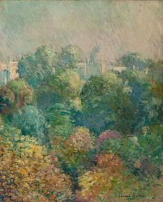 """Tree Tops from Boulevard Raspail, Paris,"" Edmund Greacen, 1906, oil on canvas laid on Masonite, 31-3/4 x 39"", private collection."