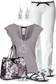 Beautiful casual but elegant outfit. Grey light top with white pants. The accessories are what make the outfit. Beautiful silver ring necklace and ear rings as well as the floral bag and shoes. So pretty!