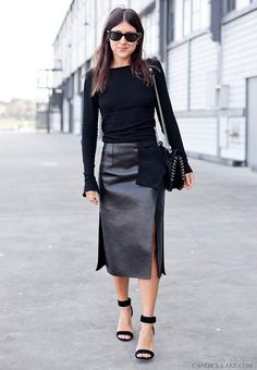 Leather skirt with side slits