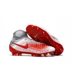 Acheter Nouvelles - Chaussures Foot Nike Magista Obra II FG Blanc Rouge pas cher en ligne 128,00€ sur http://cramponsdefootdiscount.com