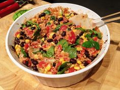 Oven-Baked Mexican Quinoa Casserole - Vegan and Gluten-Free {Dry quinoa and other ingredients cook right in the oven!} - Try cooking stove top Mexican Food Recipes, Whole Food Recipes, Vegetarian Recipes, Cooking Recipes, Healthy Recipes, Mexican Quinoa, Clean Eating, Healthy Eating, Vegan Sour Cream
