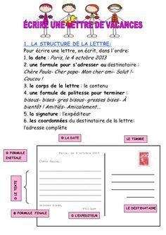 1. LA STRUCTURE DE LA LETTRE: Pour écrire une lettre, on écrit, dans l'ordre: 1. la date : Paris, le 4 octobre 2013 2. une...