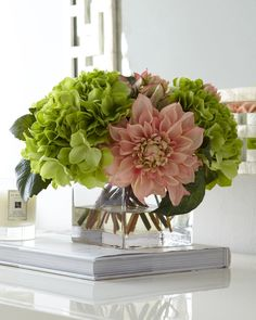 Compact faux-floral arrangement in pastel rose and green instantly refreshes any space. http://api.shopstyle.com/action/apiVisitRetailer?id=465615220&pid=uid1209-1151453-20