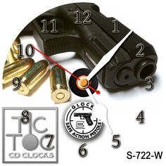 eBlueJay: S-722-W CD CLOCK - GLOCK LOGO WITH WHITE HANDS
