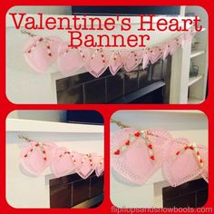 Valentine Heart Banner - Quick, cheap and easy Valentine's doily heart banner.
