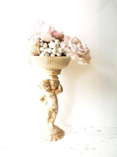 Shabby Cherub  Compote Centerpiece. Victorian by 3vintagehearts