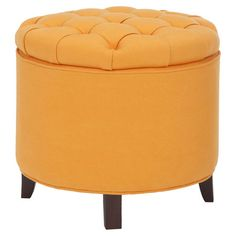 Storage ottoman with a tangerine tufted top.  Product: OttomanConstruction Material: Beech wood, linen and polye...