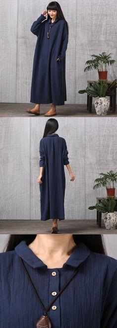 Women Casual Loose Cotton Linen Plus Size Dress $79.00
