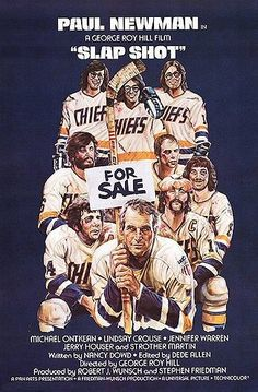Slap Shot is a 1977 comedy film directed by George Roy Hill, written by Nancy Dowd and starring Paul Newman and Michael Ontkean. It depicts a minor league hockey team that resorts to violent play to gain popularity in a declining factory town. Paul Newman, Funny Movies, Good Movies, Awesome Movies, Funniest Movies, Film Movie, Comedy Movies, Cult Movies, Movie Props