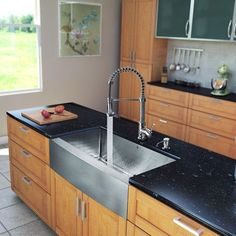 Found it at Wayfair - 33 inch Farmhouse Apron Double Bowl 16 Gauge Stainless Steel Kitchen Sink with Edison Chrome Faucet, Two Grids, Two Strainers and Soap Dispenser Corner Sink Kitchen, Modern Kitchen Sinks, Kitchen Sink Design, Double Bowl Kitchen Sink, New Kitchen, Awesome Kitchen, Kitchen Designs, Stainless Steel Farmhouse Sink, Stainless Steel Faucets