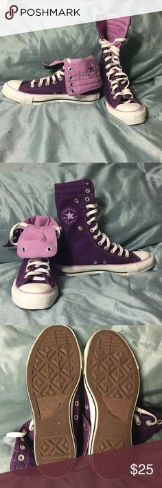 Awesome Purple Converse These purple fold over high tops are in like new condition and super cute. You're not going to see these around much. Many different ways to wear them  size 5 men's 7 women's Converse Shoes Sneakers