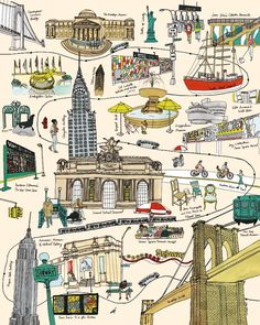 Illustration by Julia Rothman, via Grain Edit Gravure Illustration, Subway Map, Nyc Subway, Voyage New York, Empire State Of Mind, I Love Nyc, Concrete Jungle, Map Art, Vintage Travel