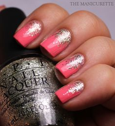 For a similar look try Sally hansen xtreme wear coral reef and opi spark de triumphe Coral Nails Glitter, Sparkly Nails, Prom Nails, Fancy Nails, Wedding Nails, Cute Nails, Pretty Nails, My Nails, Fabulous Nails