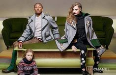 Cara Delevingne, Pharrell Williams and Hudson Kroenig for CHANEL Paris-Salzburg pre-fall 2015 campaign photographed by Karl Lagerfeld Pharrell Williams, Cara Delevingne, Karl Lagerfeld, Chanel 2015, Chanel Paris, Coco Chanel, Chanel Coat, Christopher Kane, Salzburg