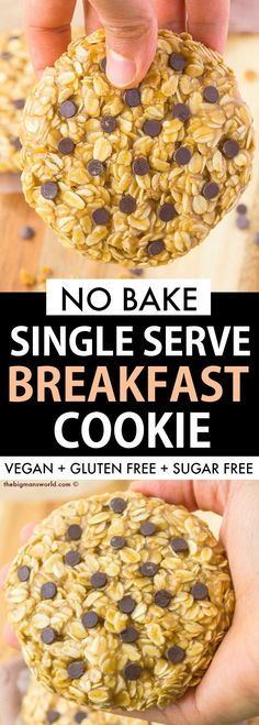 Healthy Single Serving Breakfast Cookie FOR ONE! Thick, soft and chewy cookie th… Healthy Single Serving Breakfast Cookie FOR ONE! Thick, soft and chewy cookie that is protein packed, sugar free and requires NO baking- A foolproof recipe! Sugar Free Breakfast, Breakfast Cookie Recipe, Protein Breakfast, Breakfast Bake, Vegan Breakfast, Breakfast Recipes, Healthy Baking, Healthy Sugar, Healthy Recipes