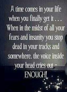 Enough! Recovery from narcissistic sociopath relationship abuse.