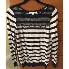 LC Lauren Conrad Striped Sweater LC Lauren Conrad black and cream striped sweater with black lace detailing, size medium. This sweater has only been worn a couple of times and is in great shape! LC Lauren Conrad Sweaters Crew & Scoop Necks