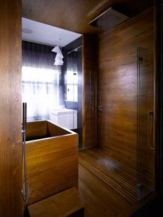 William Garvey Geo deep bath with teak 'tiles'