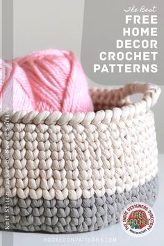 Looking for ideas to crochet for home? We have a collection of free crochet patterns to brighten up your home decor - Stop here for your next FREE WIP! Crochet Art, Love Crochet, Crochet Crafts, Yarn Crafts, Crochet Ideas, Crochet Projects, Modern Crochet Patterns, Knitting Patterns, Crochet Baskets