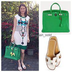 """@therealmarian's TuesDate #OOTD in a lovely Mary Katrantzou dress, green @hermes birkin, and Hermes white oran flats #MarianRivera #marianOOTD #hermes…"""