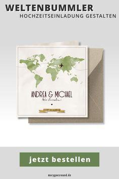 Für echte Weltenbummler-Brautpaare: Hochzeitskarten mit Weltkarte von   der Einladungskarte über Menükarte und Gastgeschenkanhänger bis hin zur   Dankeskarte fidnest du alles im passenden Design. Stöbere jetzt durch   die Kollektion und stelle das Hochzeitspapeterie-Set für eure Hochzeit   zusammen! #hochzeitskarten #weltkarte #reisen #hochzeitspapeterie   #hochzeitseinladung