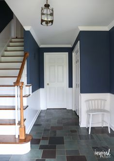 Painting my Entryway - Farrow & Ball Stiffkey Blue A look at my newly painted entryway. Color: Farrow and Ball Stiffkey Blue Dark Paint Colors, Interior Paint Colors, Neutral Paint, Gray Paint, Hall Painting, Blue Painting, Hall Colour, Hallway Colours, Entryway Paint Colors