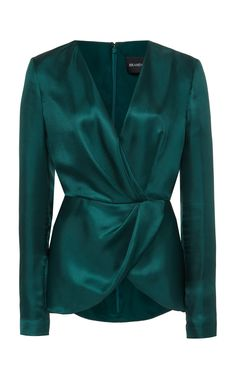 Shop Asymmetric Wrap-Effect Silk Top. Brandon Maxwell's silk top is crafted in a beautiful jewel-toned hue. Moda Fashion, Hijab Fashion, Fashion Dresses, Bluse Outfit, Formal Tops, Hijab Stile, Mode Vintage, Classy Outfits, Blouse Designs