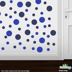 Blue / Navy Blue Polka Dot Circles Wall Decals