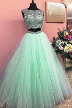 Custom Made Nice Prom Dresses Long, Green Round Neck Two Pieces Tulle Beads Long Prom Dress, Green Evening Dress Prom Dresses Two Piece, Unique Prom Dresses, Pretty Dresses, Homecoming Dresses, Beautiful Dresses, Dress Long, Dress Formal, Green Prom Dresses, Green Evening Dress