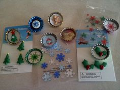 To remember how to for next Christmas: Bottle cap pins and magnets, etc. The trees, holly, gingerbread men, stars and snowflakes are in the scrapbook section of any craft store and inexpensive. The images are free downloads. Take a bottle cap with me to store for size. Next year, different images and inserts! Conda