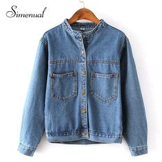 Autumn 2015 jean jacket for women fashion pocket design long sleeve coat female new arrival slim solid denim jackets outerwear aliexpress.com