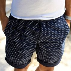 Navy Cotton Shorts with White Pin Dots. Men's Spring Summer Fashion. | Mens Fashion