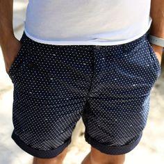 Navy Cotton Shorts with White Pin Dots. Men's Spring Summer Fashion. | Mens Fashion