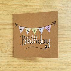 Cartolina di buon compleanno Bunting di RachelNorden su Etsy