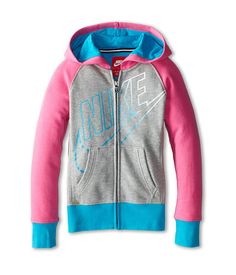 Add a pop of color to your look in this Nike Kids HBR Hoodie!Attached hood.Long raglan sleeves with banded cuffs.Full front zipper closure.Adorable color blocked design throughout with iconic Swoosh logo at front.Split kangaroo pockets at front.Banded hem.80% cotton, 20% polyester.Machine wash cold, line dry.Imported. Measurements:Length: 20 inProduct measurements were taken using size XS (6X Little Kids). Please note that measurements may vary by size.