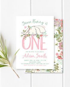 Some Bunny Birthday Invitation Girl First by YourLittlePoster