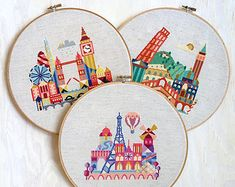 London, Paris, Italy - 3 modern cross stitch patterns - 15 Dollars - Instant Download