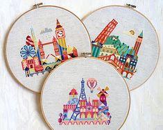 London, Paris, Italy - 3 modern cross stitch patterns - 15 Dollars - Instant Download